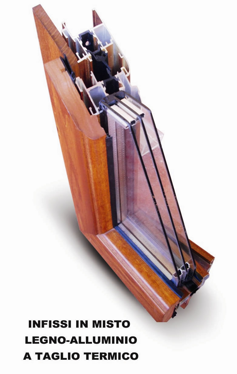 Angolo misto legno retto-alluminio a taglio termico con vetro camera a 3 strati